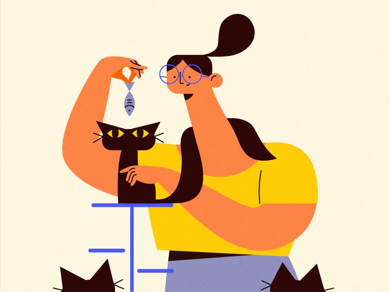 that cat lady 🐱 character fish cat team design illustration studioart fourplus