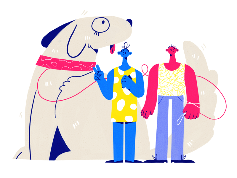 Dog owners pattern couple character park walk dog summer team design illustration studioart fourplus
