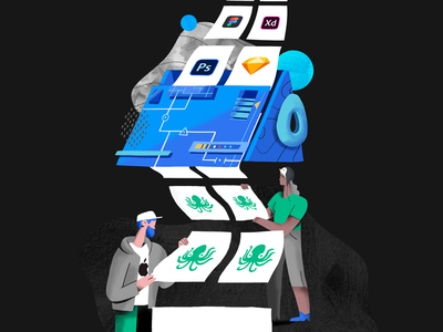 Accessible to everyone linux apple integration avocode ux logo ui team product flat design illustration