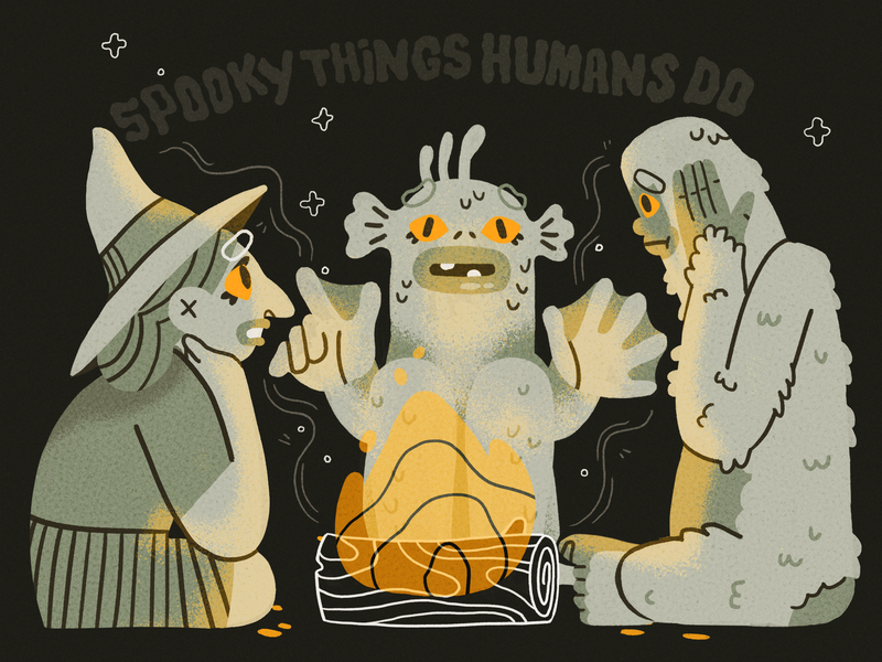 They wear socks with sandals 😵 story witch swamp bigfoot monster scary spooky camp fire halloween design character illustration
