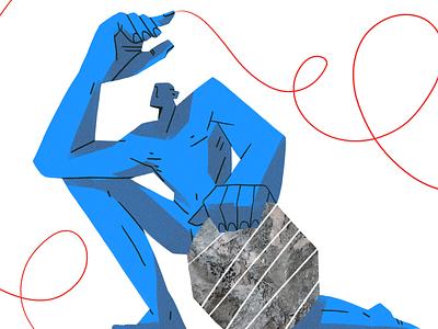Sisyphus mixed media design editorial brutalist brutalism nature flat illustration character