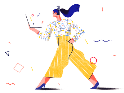 Busy pattern woman tech laptop ui product flat illustration design character