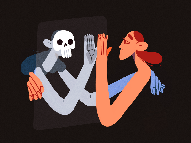 Make friends with your demons trickortreat skull scary halloween flat design character illustration