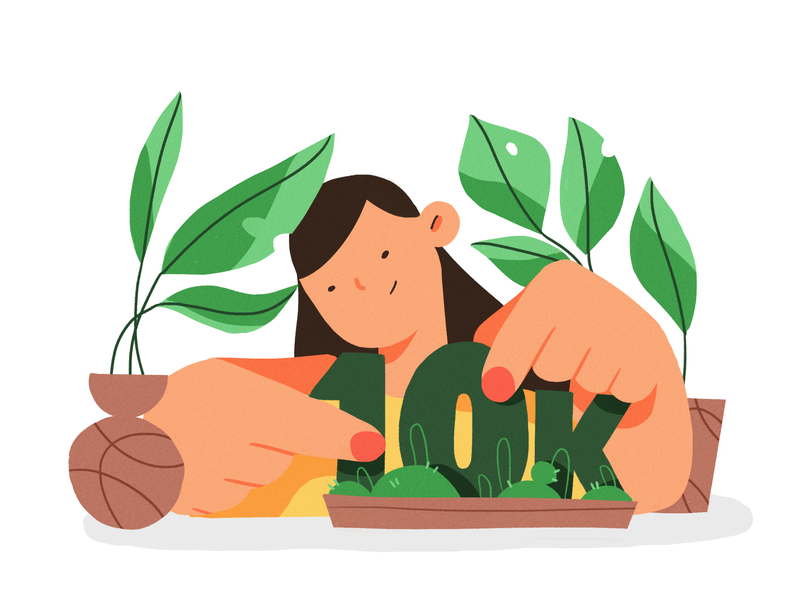 all grown up plants forest girl nature product flat design character illustration 10k