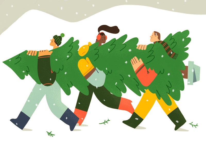 🎄Holiday Preparation🎄 cozy holidays cold mountain snow christmas tree xmas christmas team product flat design character illustration