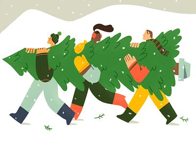 🎄Holiday Preparation🎄 cozy holidays cold mountain snow christmas tree xmas christmas team product flat design character illustration