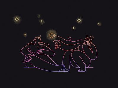 Touch star light neon dark black night girl flat design character illustration
