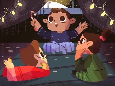 ✨Storytelling ✨ xmas christmas light editorial story book children kids flat design character illustration