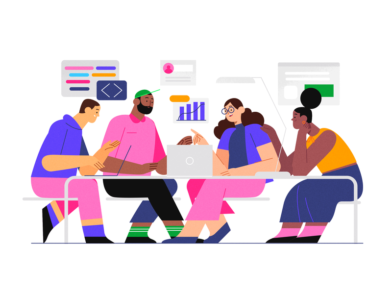 Growth ⚡️ code tech ui team product flat design character illustration