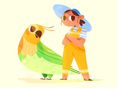 Team Amazon bird nature summer girl team flat product design character illustration