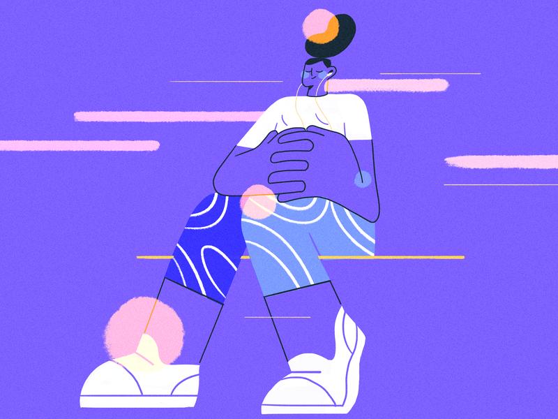 Train Ride purple vector girl product design flat character illustration