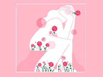 flourish abstract brutalism spring girl product flat design character illustration