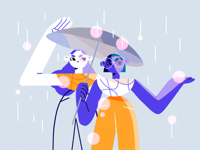 Spring Showers girl product flat design character illustration