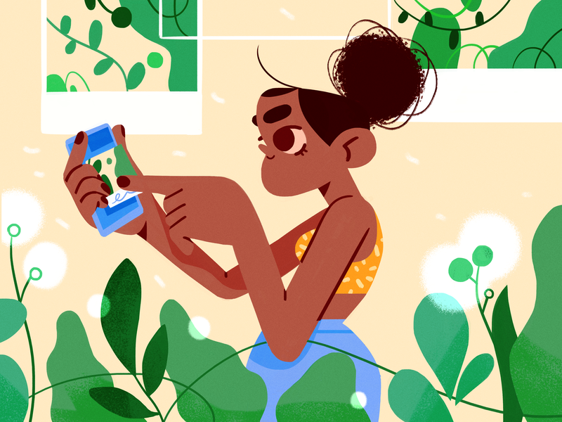 nature snaps 📸🌱 nature girl product flat design character illustration
