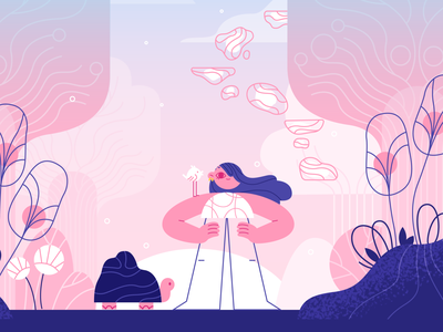 Early bird 🌸 vector ui nature team girl product flat design character illustration
