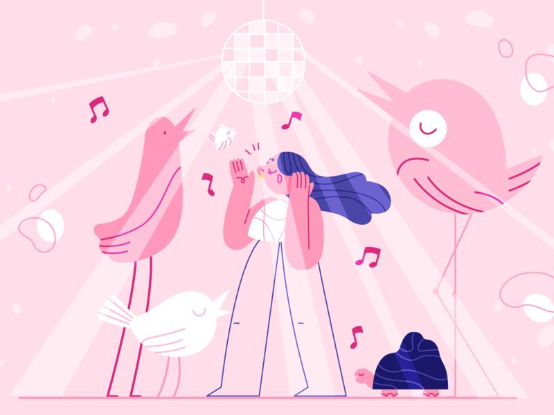 Jammin' 🎤✨ thefurrow girl product flat design character illustration