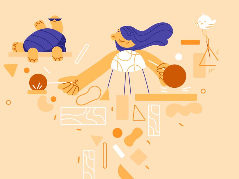 Sound Design 🥁 vector branding ui girl product flat character design illustration