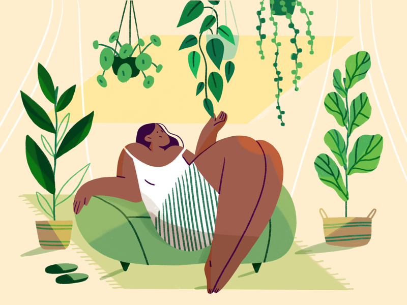 Growing strong🌿 product illustration flat illustration digital art indoor plants editorial product illustration
