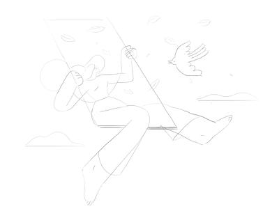Swing inktober inktober2019 vector nature girl product flat design character illustration