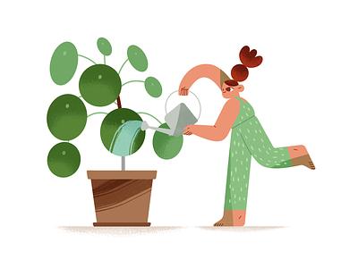 Watering schedule branding nature ui vector girl product flat design character illustration