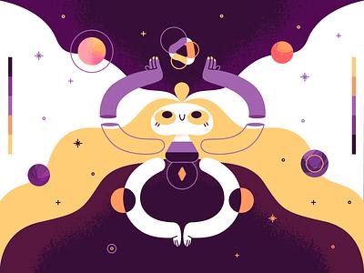 Cosmic Balance balance cosmos vector ui product flat design character illustration