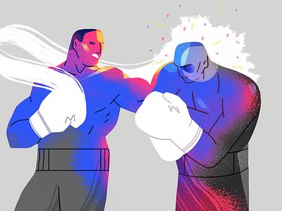 Left Hook knockout sport boxing team product flat design character illustration
