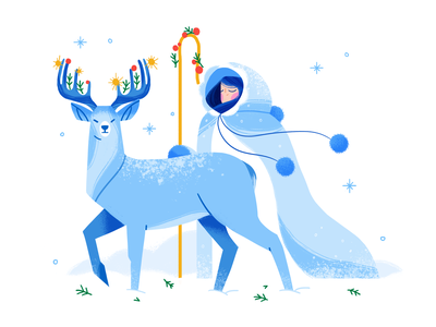 Frost ❄️ deer christmas winter nature girl product flat design character illustration