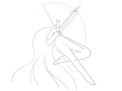 Artemis girl product flat design character illustration
