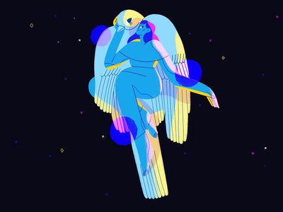 Freedom space woman girl flat design character bird illustration