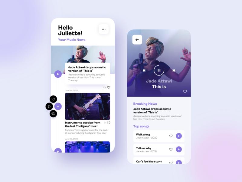 Music App - News ux ui design ui trends timeline sketch purple music app player music player news music mobile app mobile interface interaction clean card blur app