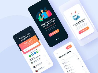 Mobile App - Referral gradient cards sending refer referral illustration ux ui design ui mobile app mobile interface app