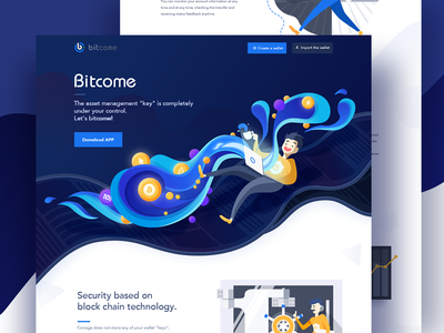 web-Bitcome hiwow blockchain illustration blue web