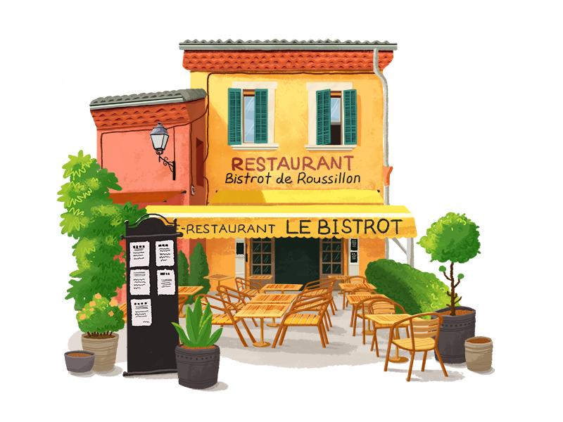 Little House 01 illustration hiwow building restaurant home house pink orange yellow