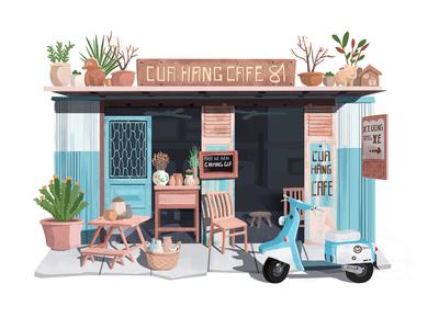 Little House 04 illustration hiwow blue car battery house
