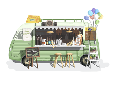 Little house 006 hiwow illustration foodtruck green house