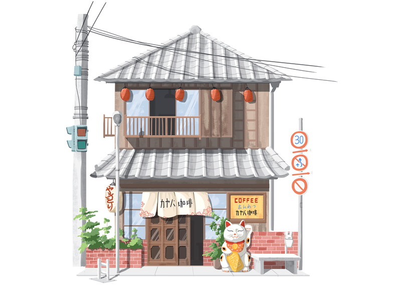 Little house 07 brown storefront japanese house hiwow illustration