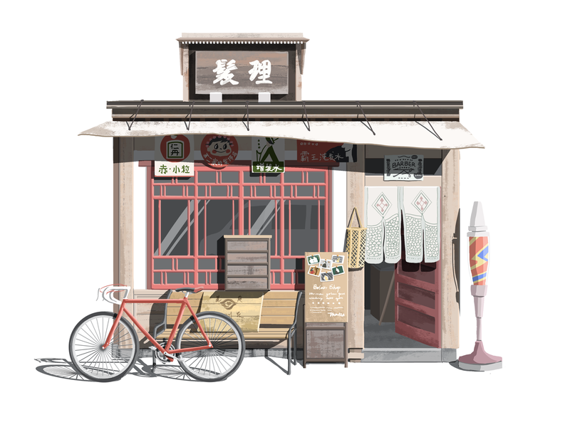 Little House 08 barber shop bike storefront chinese hiwow illustration
