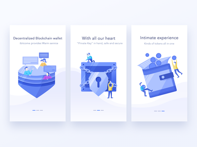 Guide page block chain wallet guide page design blue hiwow ui illustration