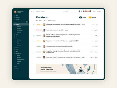 Redesk - async messaging app illustration branding desktop app ui