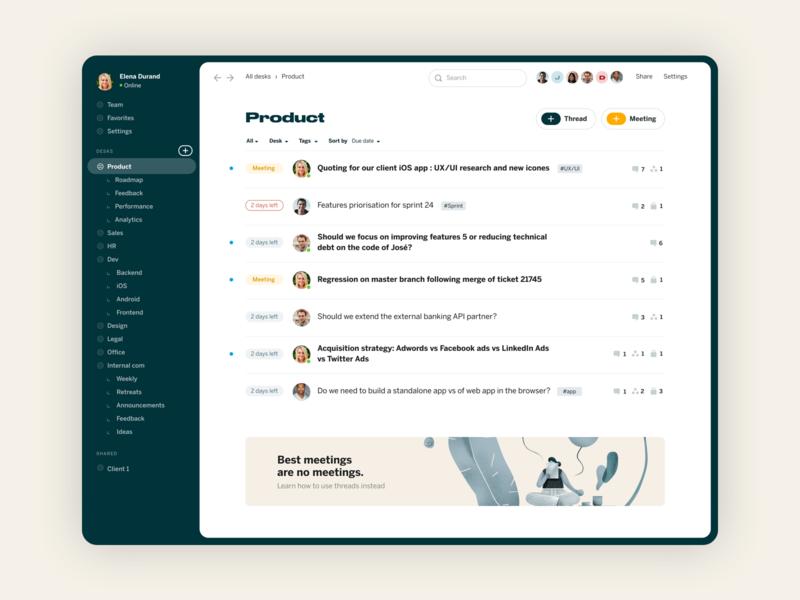 Redesk - async messaging app illustration branding desktop app ui