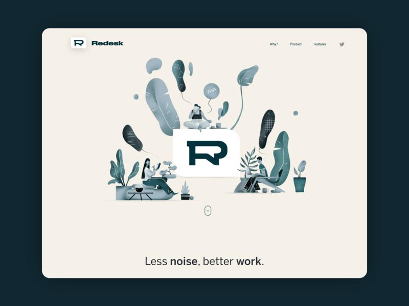 Redesk - async messaging app branding logo illustration desktop app ui