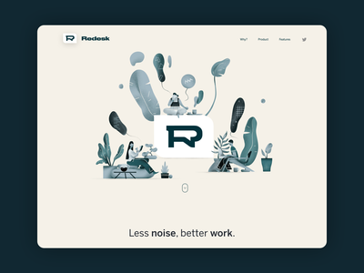 Redesk - async messaging app branding logo illustration desktop app ui