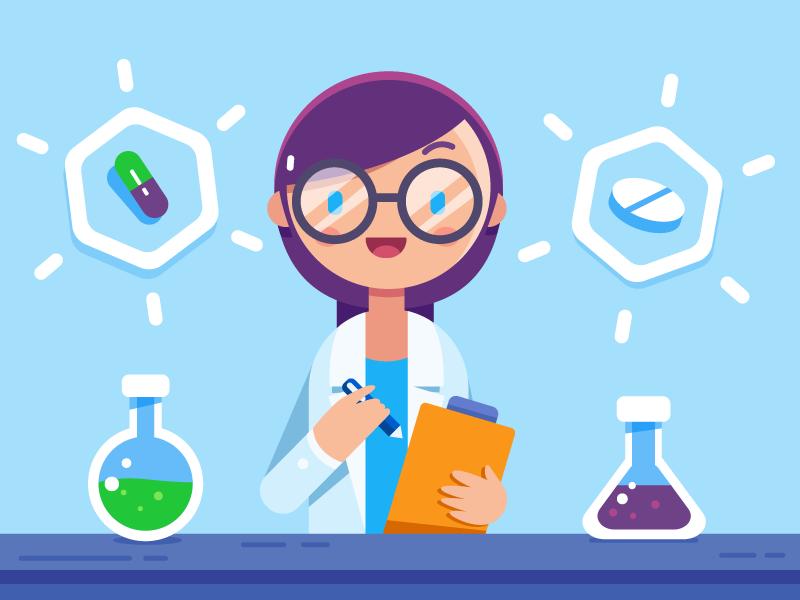 Research test tube scientist science chemistry lab test illustrator vector illustration medical