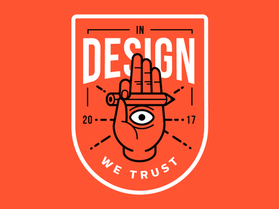In design we trust icon pencil badge eye hand illustration