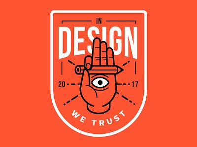 In design we trust icon pencil badge eye hand illustration