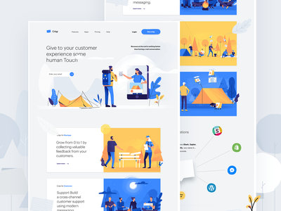 Saas landing page for a chat/messaging service | Crisp illustration chat site