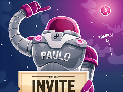 Thanks illustrator first shot astronaut spaceman illustration debut character invite thanks