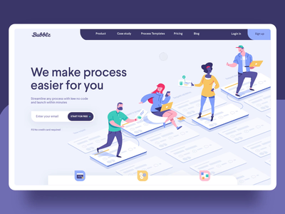 homepage for a a Saas company | bubblz vector team work site saas principle landing page illustration homepage