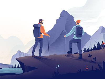 Training hiking mountain character illustration