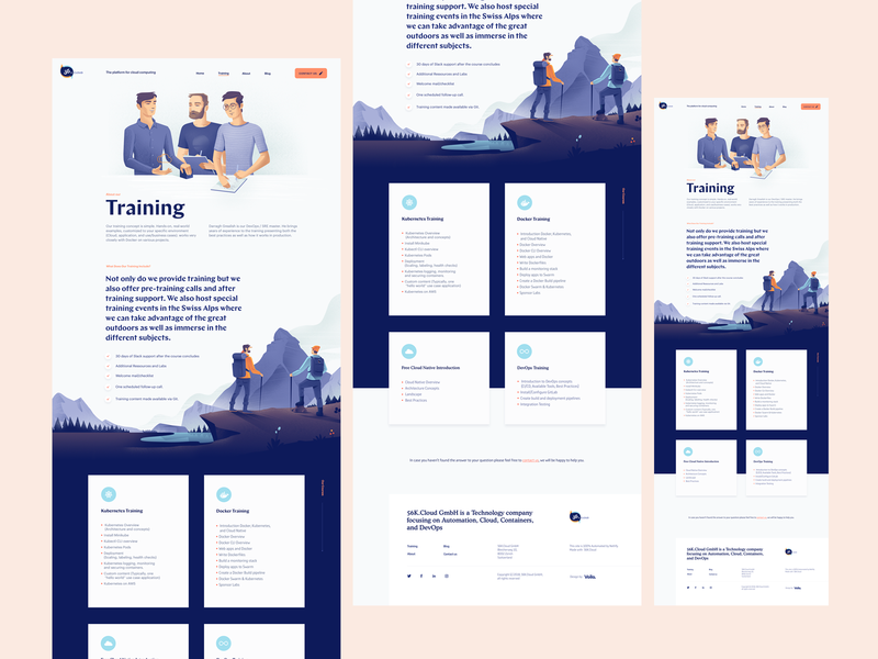 Training Landing Page for a Cloud Computing Startup landscape team illustration site landing page